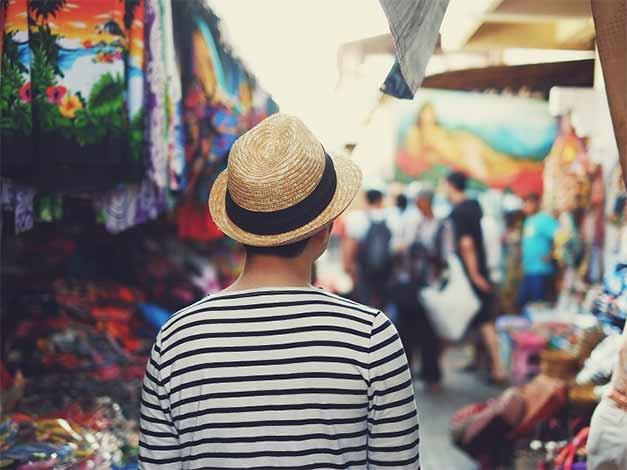A tourist in a cultural event