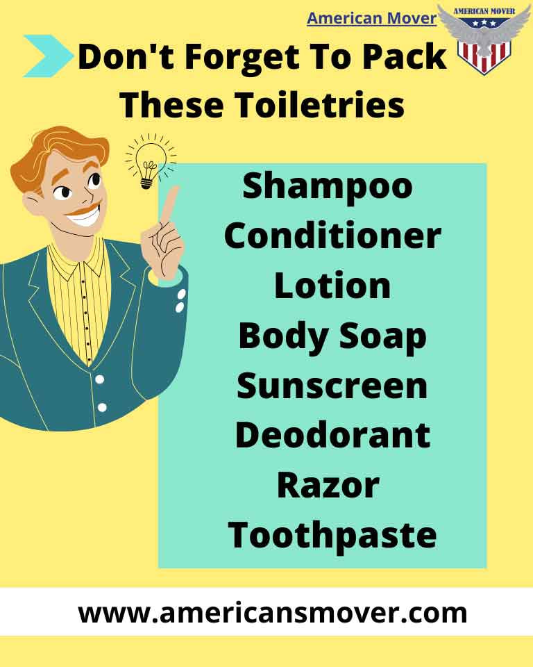 Toiletries to pack